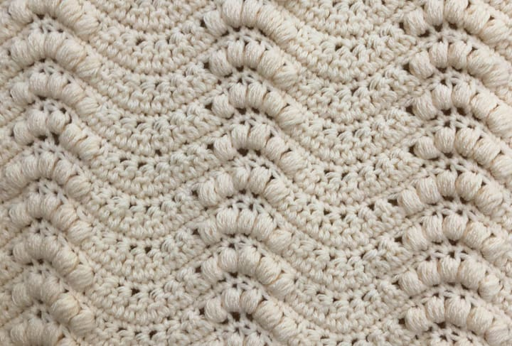 Up close stitches on ivory crochet wallhanging