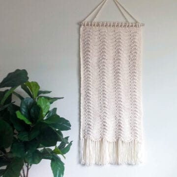 ivory crochet wall hanging next to plant