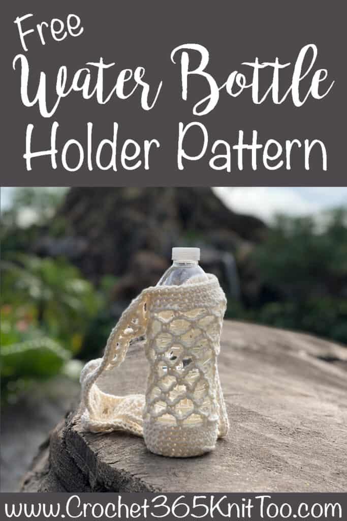 water bottle in crochet holder on rock