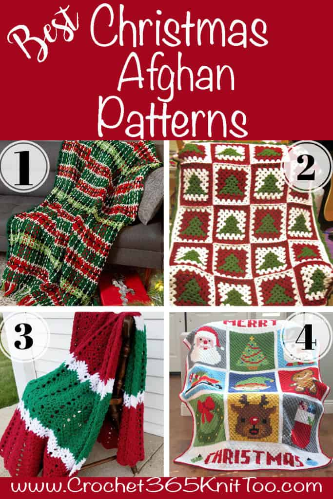 4 Christmas afghans in red, green and white