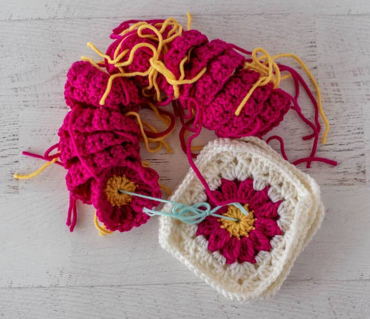 crochet flower granny squares on string