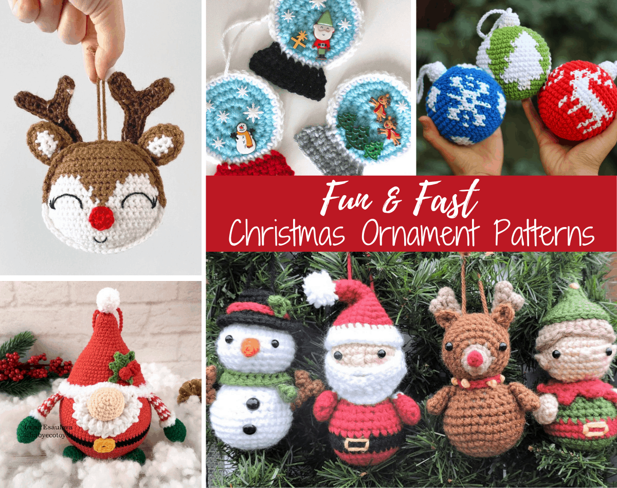 Several crochet Christmas ornaments including a reindeer, snow globes, solid color alls with white silhouette snowflake, deer, tree,