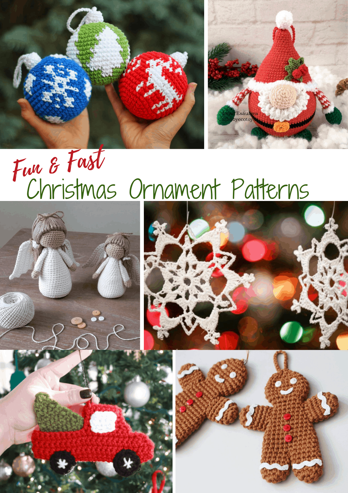 various crochet Christmas ornaments including Santa, angels, snowflakes, gingerbread men and red truck with tree