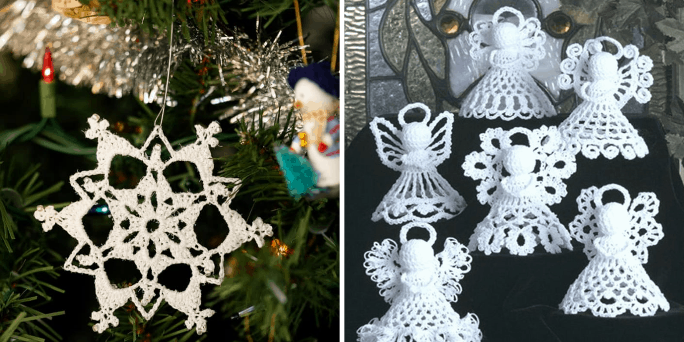 crochet Christmas angel and snowflake ornaments