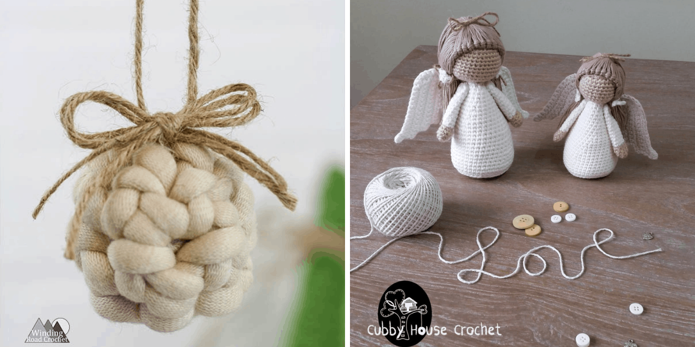 crochet Christmas angel and knotted ornaments