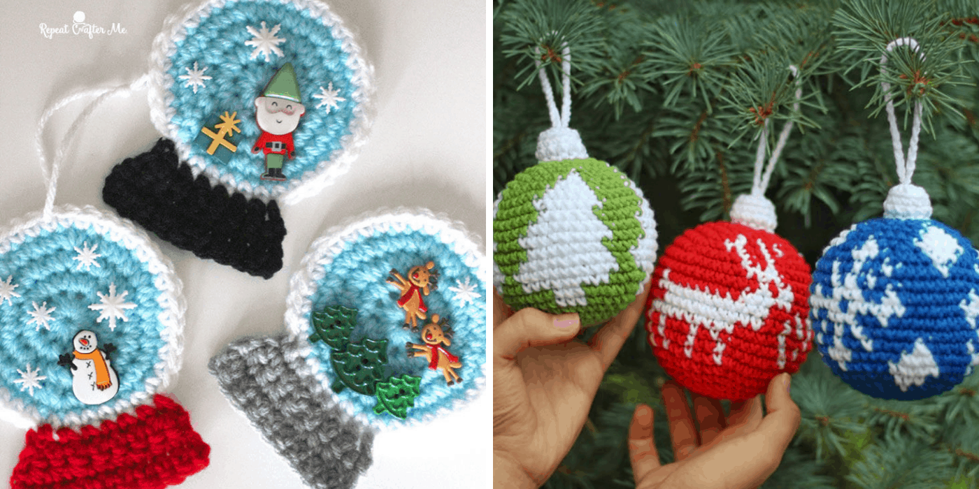 crochet Christmas ornaments with snow globe, tree, deer, and snowflake designs