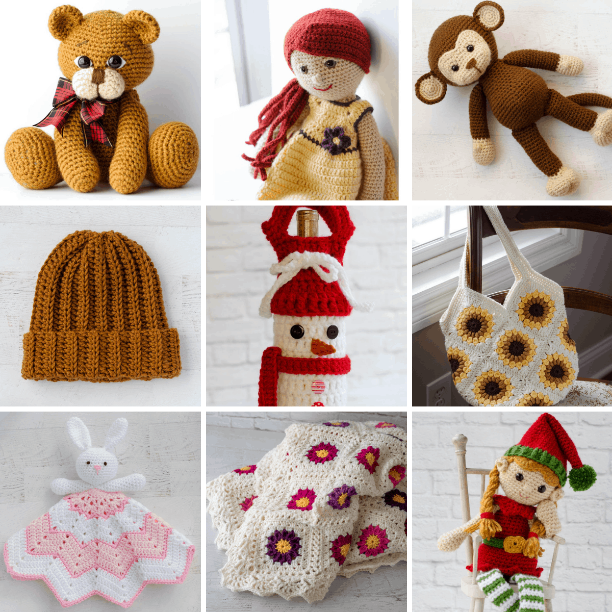 Collage of 9 crochet items: a brown crochet bear, a doll with orange hair, a monkey, a rust color hat, a snowman wine cozy, a daisy purse, a bunny lovey, a flower afghan and an elf.