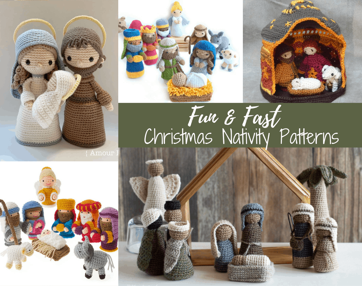 collage of crochet Christmas nativities