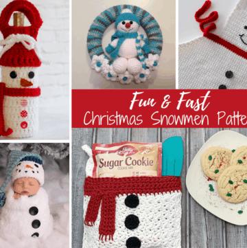collage of snowmen: wine bottle holder, baby hat, wreath, apron, and pot holder