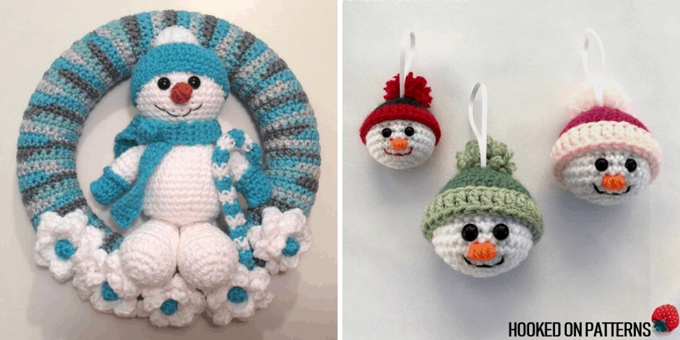 crochet Christmas snowman wreath and ornaments