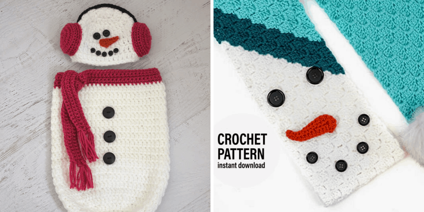 crochet Christmas snowman baby cocoon and c2c scarf