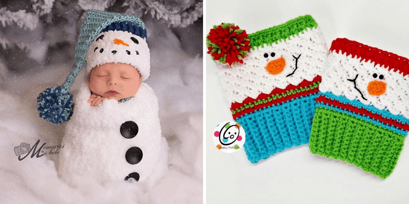 crochet Christmas snowman baby hat and fingerless gloves