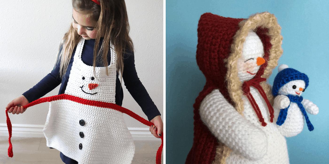 crochet Christmas snowman apron, and mom and baby amigurumi