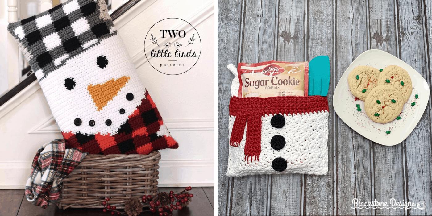 crochet Christmas snowman pillow and pot holder