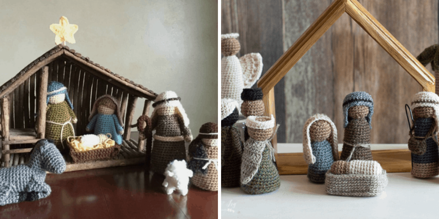 two crochet Christmas nativities: one with holy family, shepherds, donkey, and sheep, another with holy family, wise men, angel, and shepherds