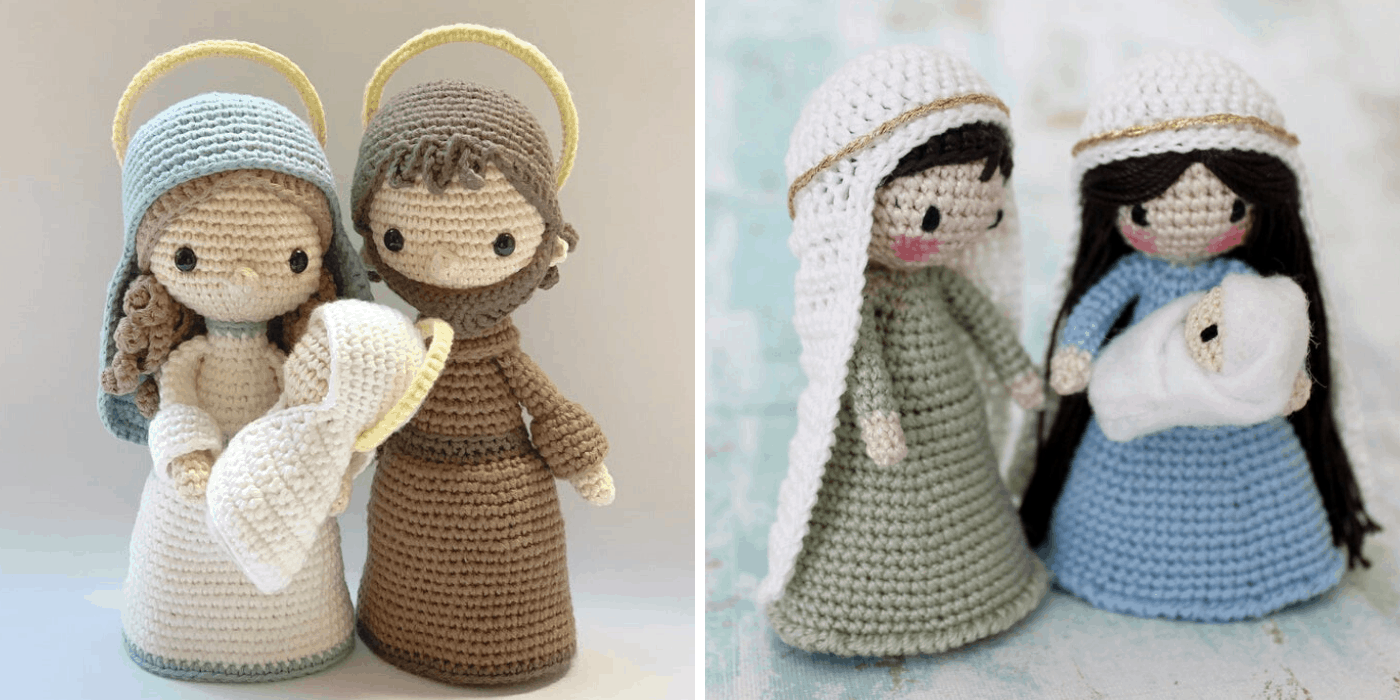 two crochet Christmas nativity holy families