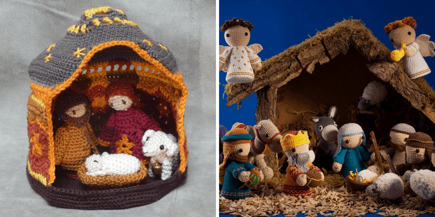 two crochet Christmas nativities: one with the holy family and one sheep, another with the holy family, wise men, angels, shepherds, sheep, donkey, and camel