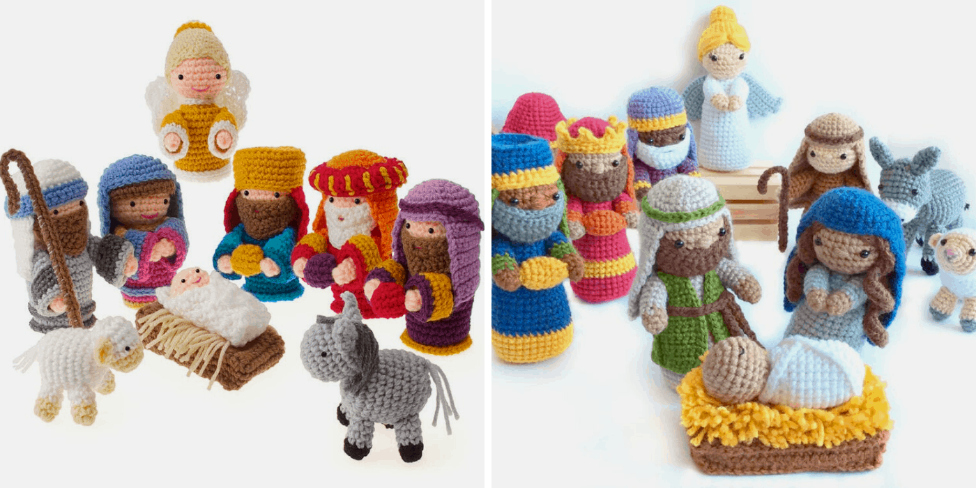 two crochet Christmas nativities: one with holy family, angel, wise men, donkey and angel, another with holy family, wise men, angel, shepherd, donkey and sheep