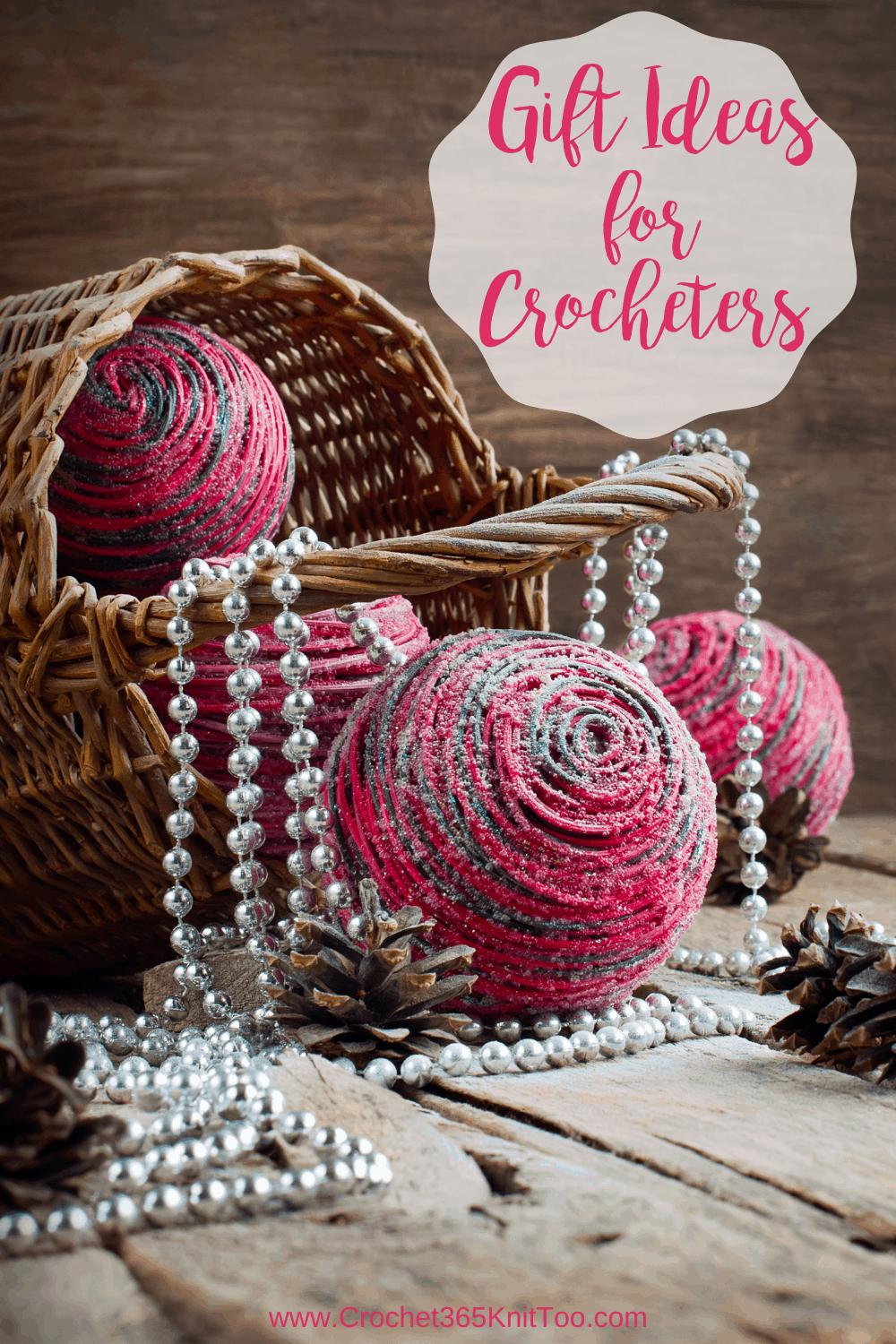 basket with balls of pink and gray yarn and silver bead strand