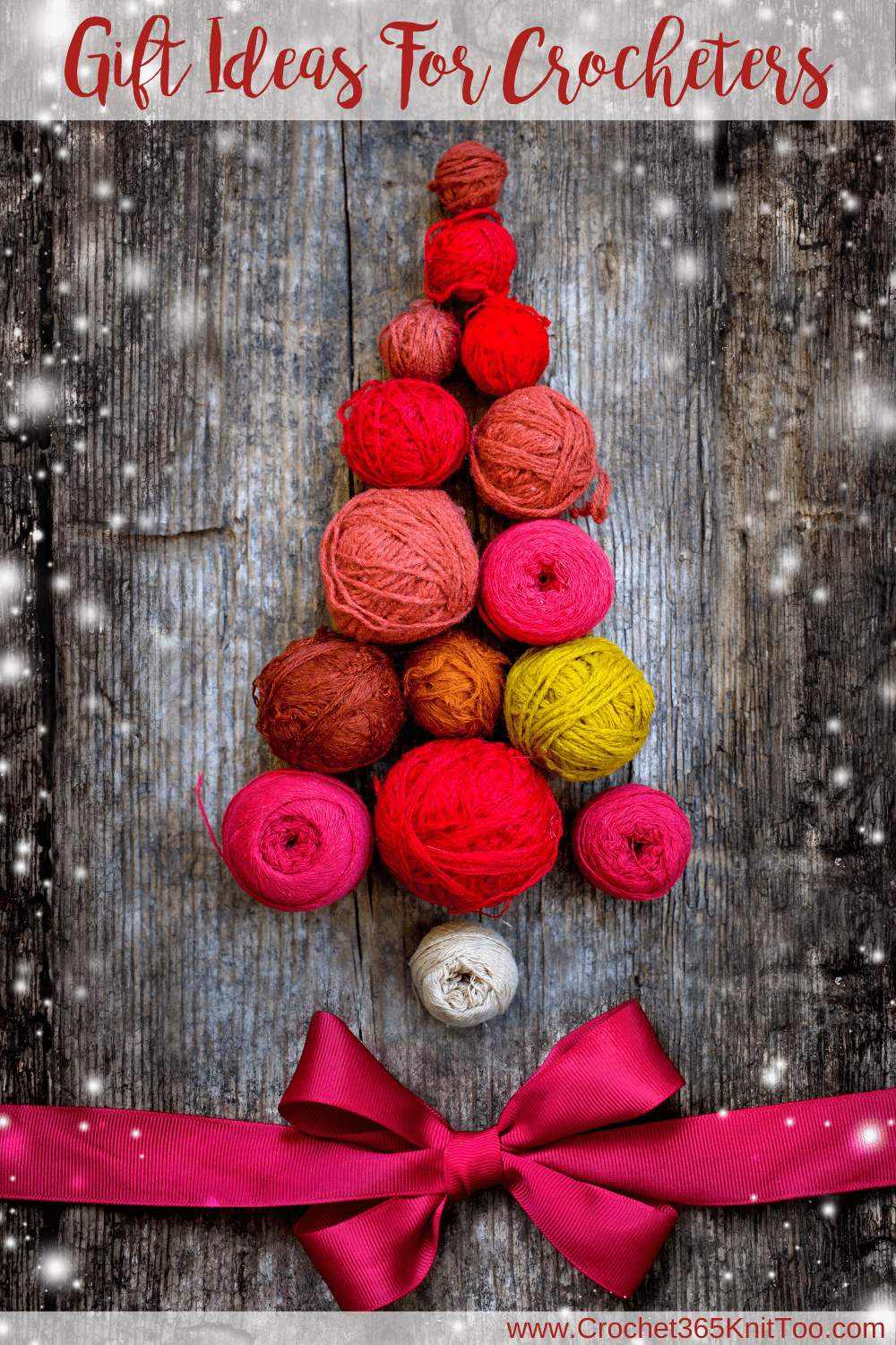 pink, red and green yarn balls in a tree shape with a pink bow