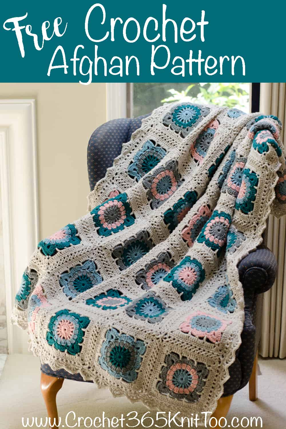 Crochet afghan in blue, teal, pink and gray.