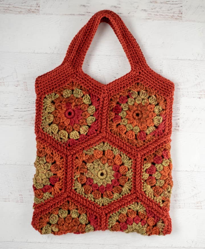 orange and green crochet hexagon tote bag