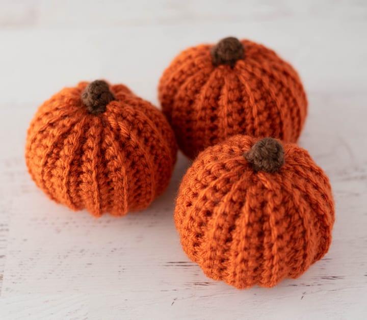 orange crochet pumpkins