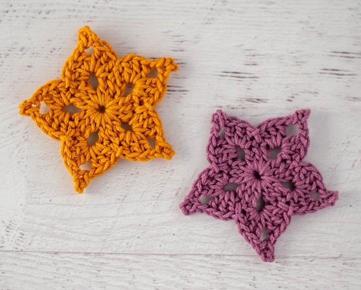 yellow and purple crochet stars