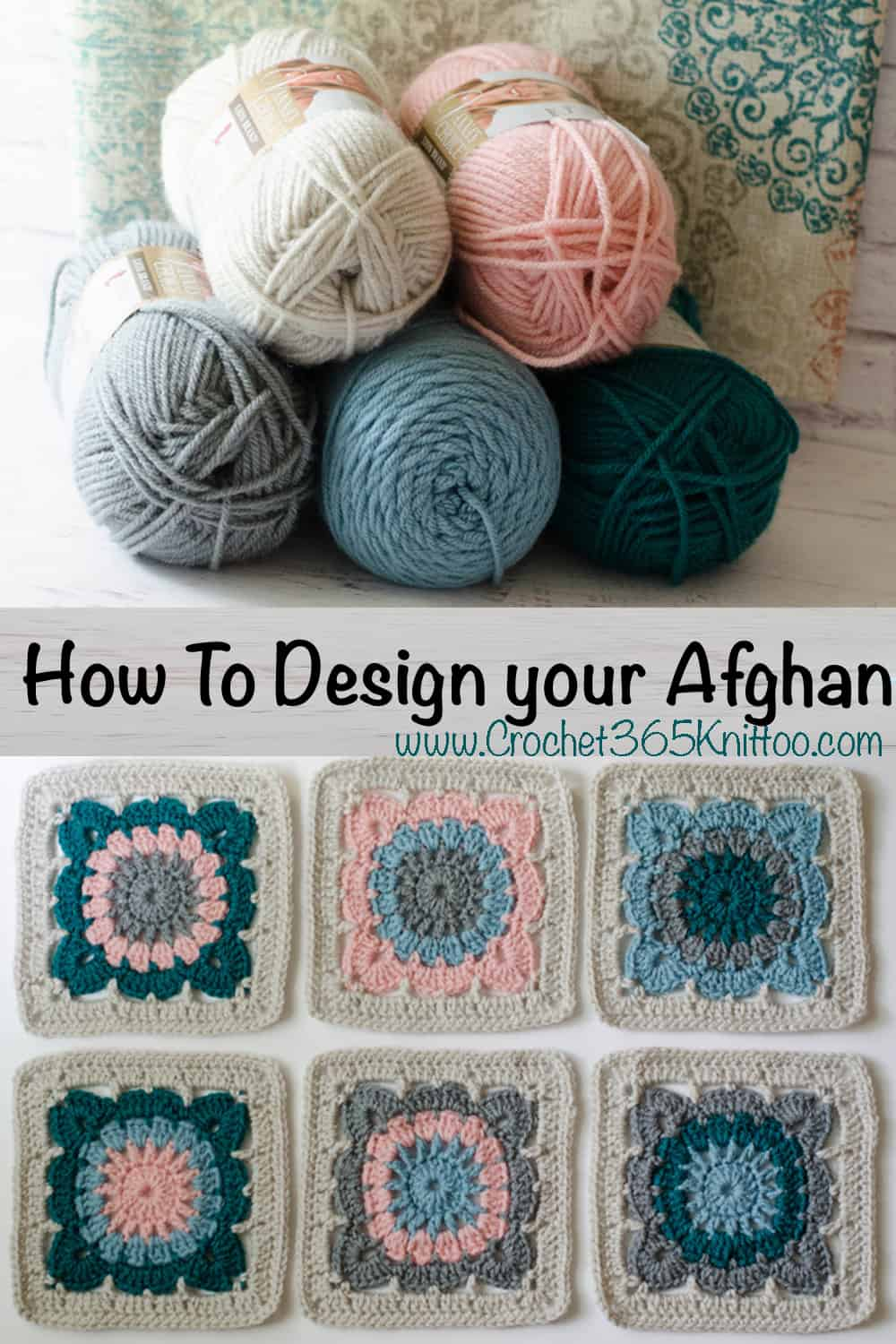 teal, pink, gray, blue and off white yarn and crochet afghan squares