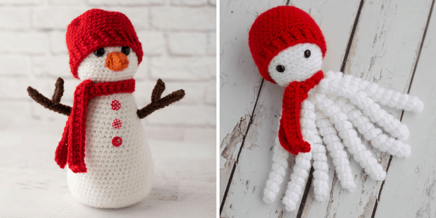Two Crochet white snowmen with red hats and scarves.