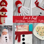 Collage of crochet christmas snowmen