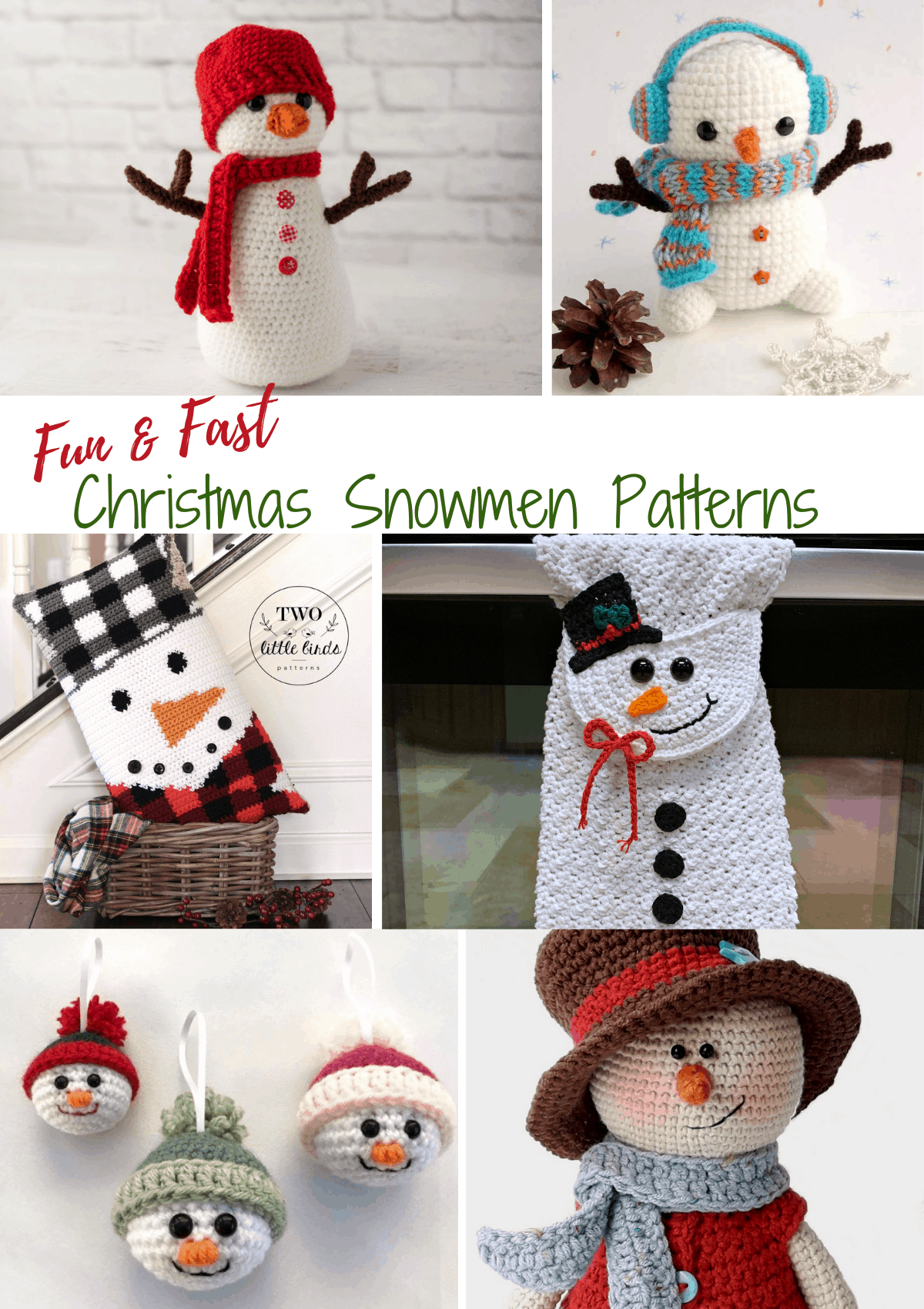 Collage of crochet christmas snowmen