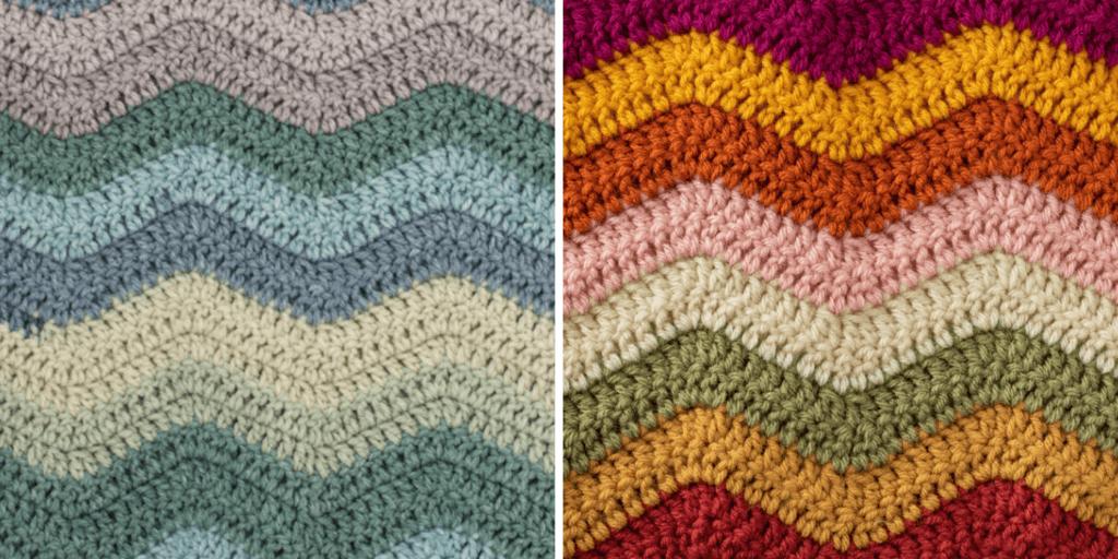 Afghan samples in various colors.