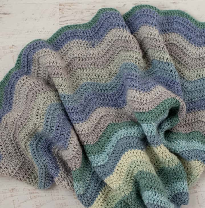 blue, green and gray afghan