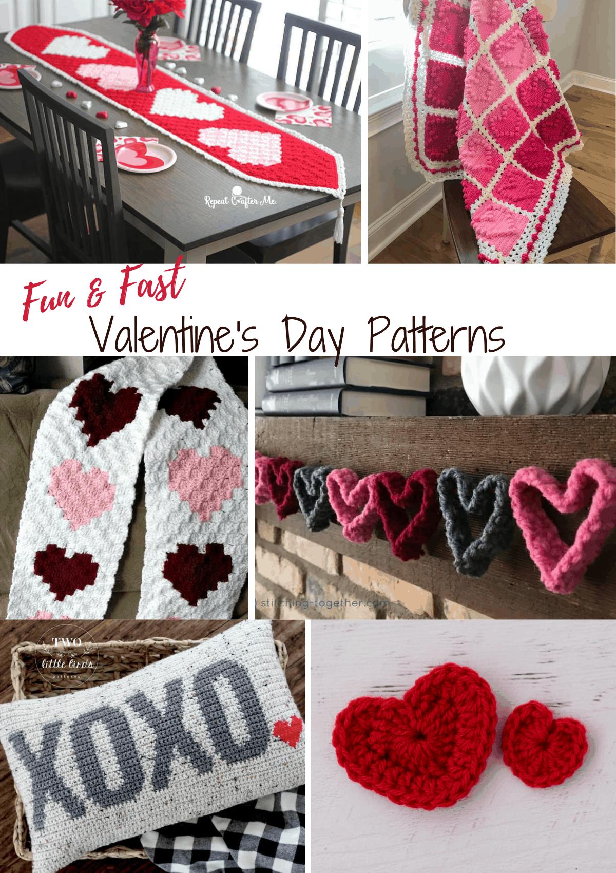 collage of crochet valentine's day patterns