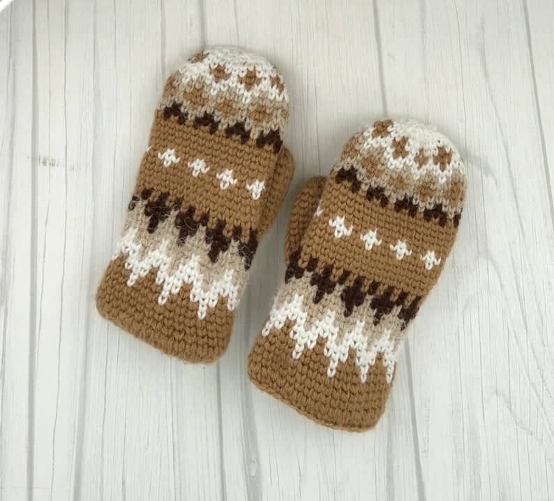 gold, brown and white crochet mittens