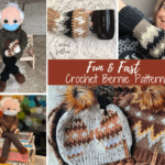 gold, brown and white crochet mittens, bernie sanders inspired doll, and hats