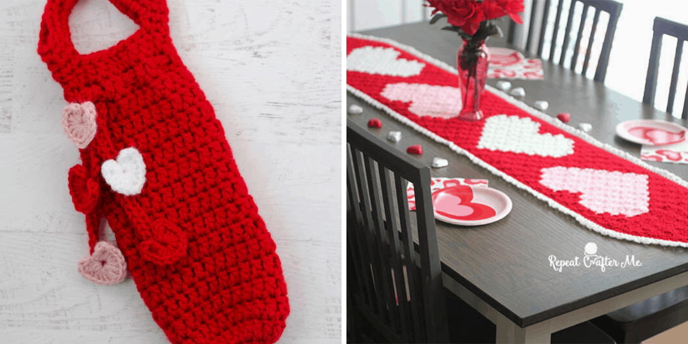 crochet heart wine bottle holder and table runner