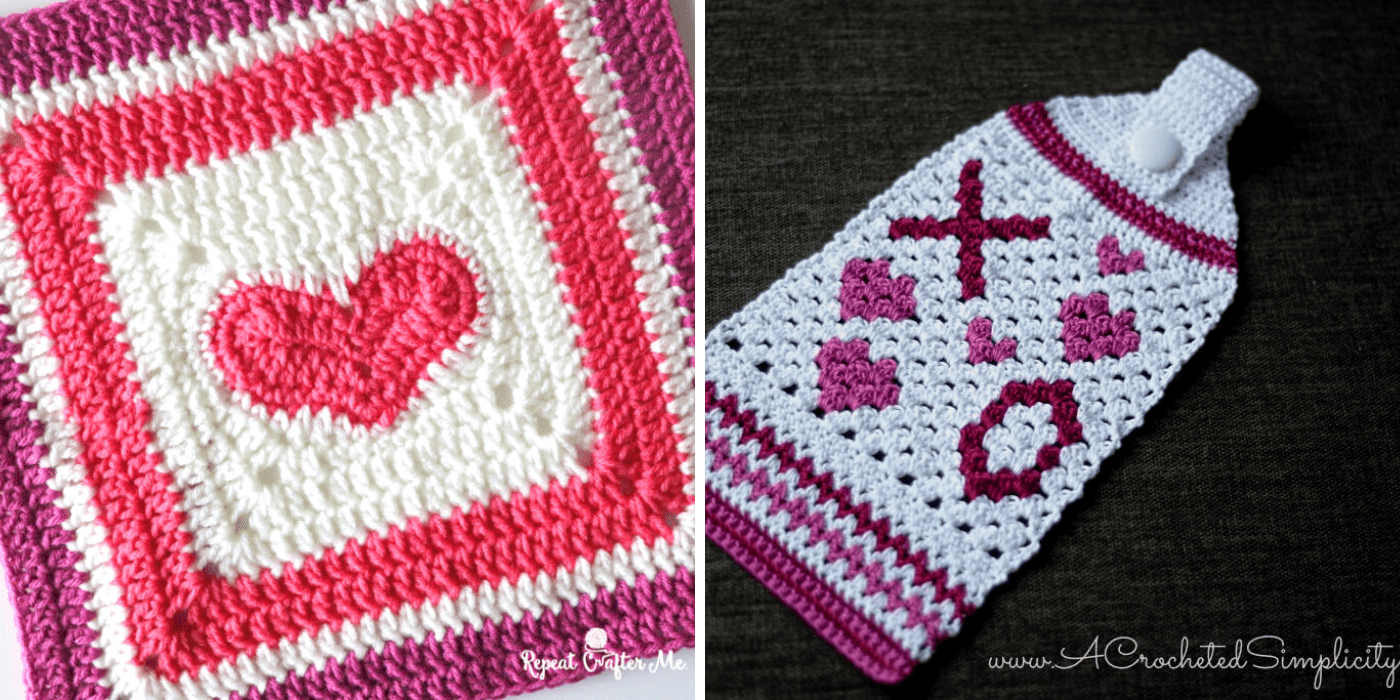 crochet heart granny square, and hugs and kisses hand towel