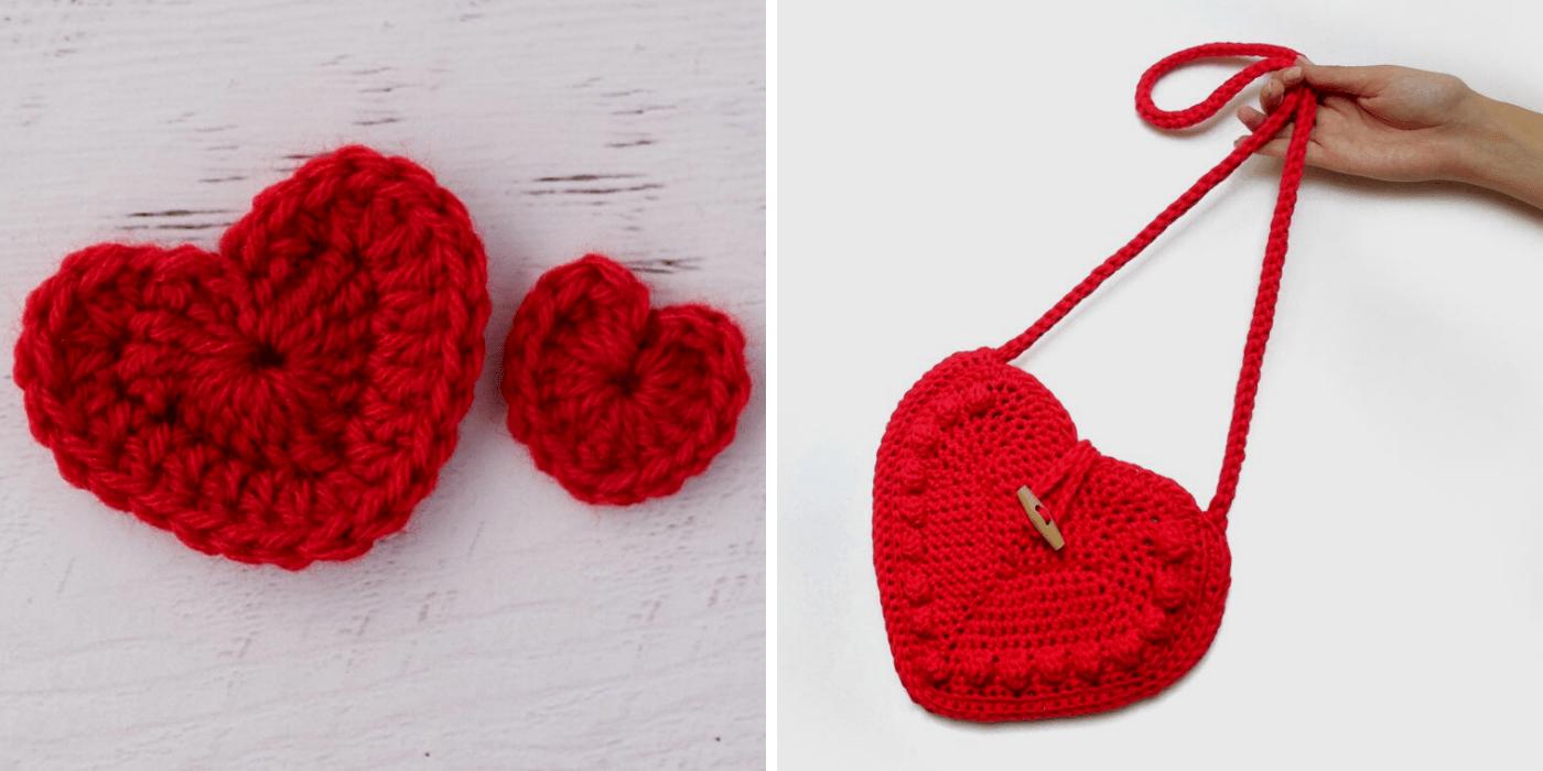 crochet hearts and heart-shaped purse