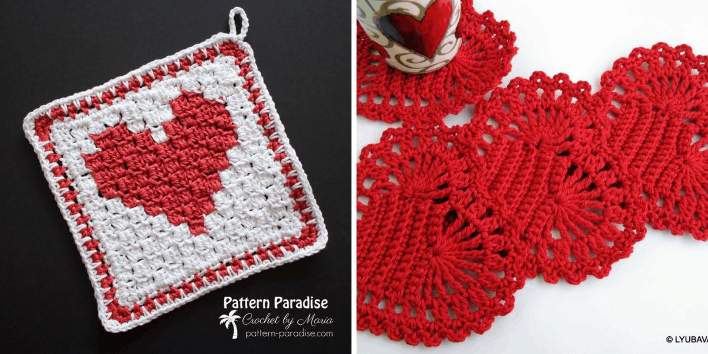crochet heart washcloth and coasters