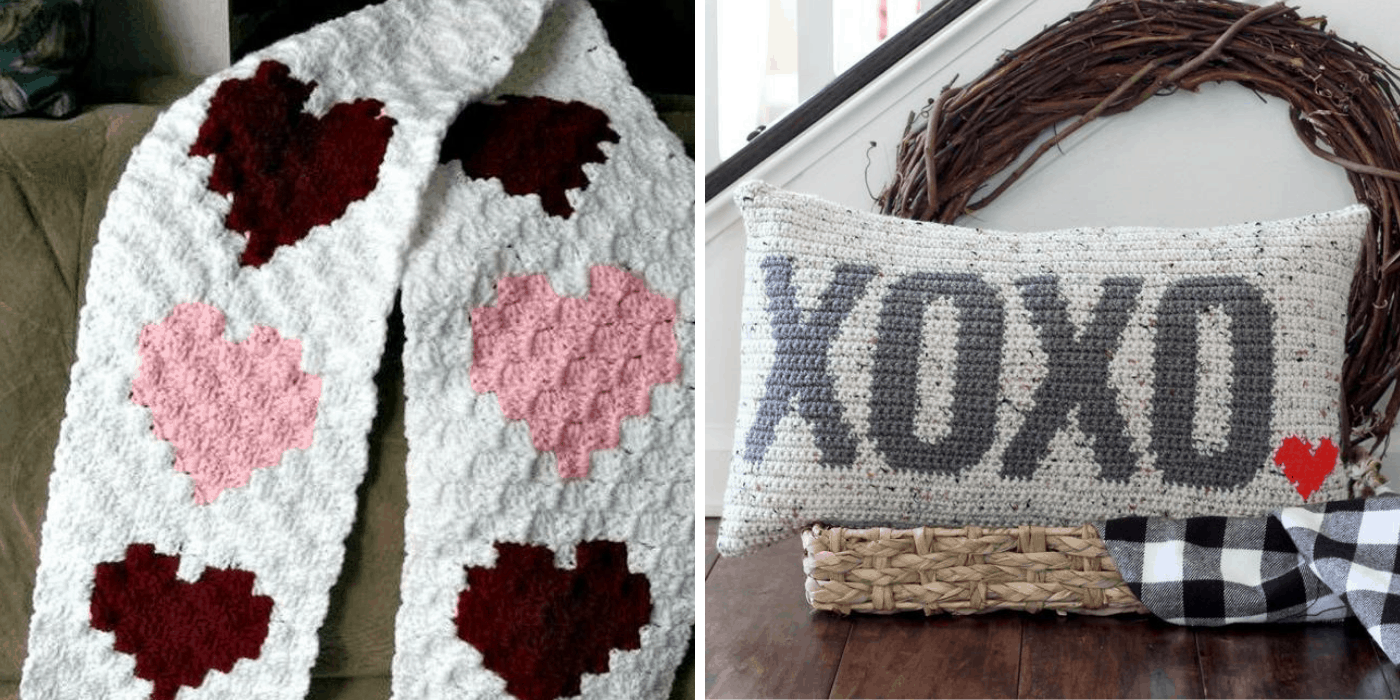 crochet heart scarf and hugs and kisses pillow