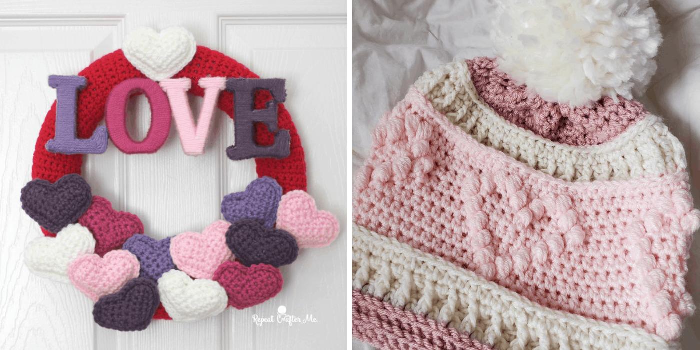 crochet heart wreath and hat