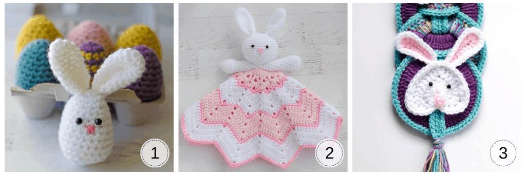 Three crochet bunnies