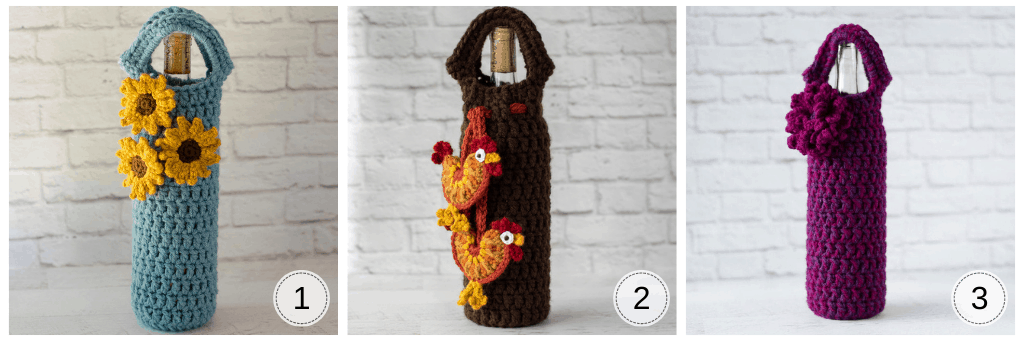 3 crochet wine cozies: blue cozy with sunflowers, brown cozy with roosters and bright pink wine cozy with loopy flower