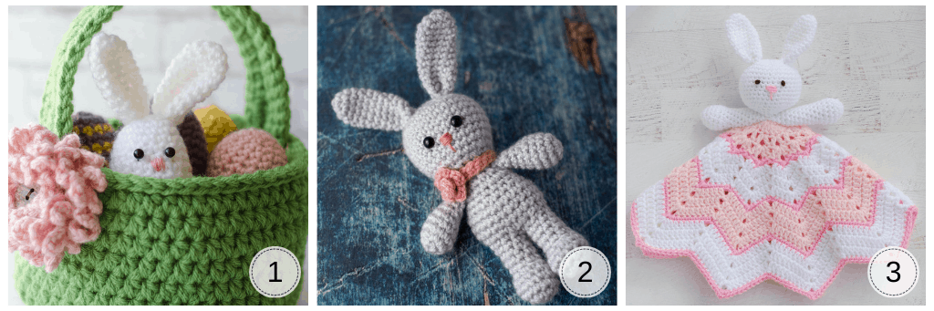 A crochet easter basket with bunny egg and eggs, a crochet gray bunny and a crochet bunny lovey