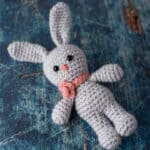 Gray Crochet Bunny with pink flower necklace