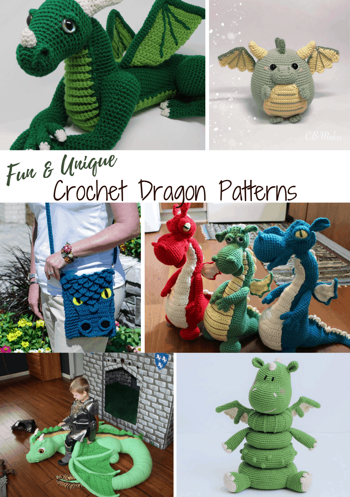 collage of crochet dragons