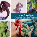 collage of crochet amigurumi dragons