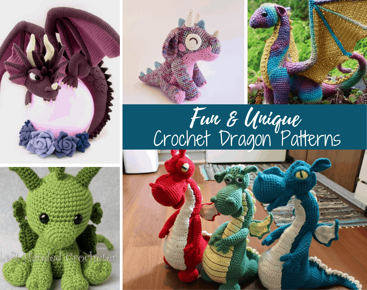 collage of crochet amigurumi dragons